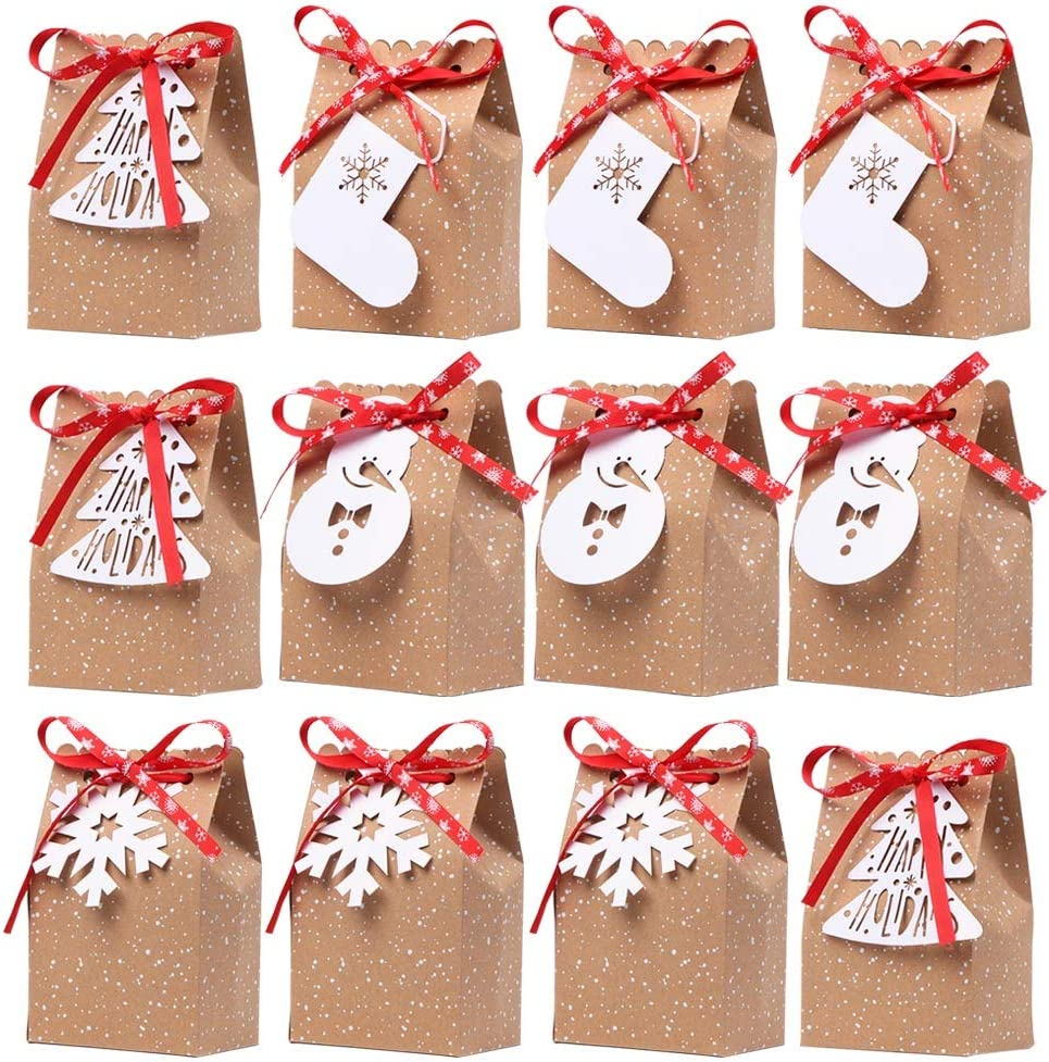 OurWarm 12pcs Christmas Treat Bags Christmas Kraft Gift Bags with Christmas Tags and Ribbons, Xmas Paper Candy Goody Bags for Christmas Party Favors, 5 x 3 x 7 Inch holiday gift bags