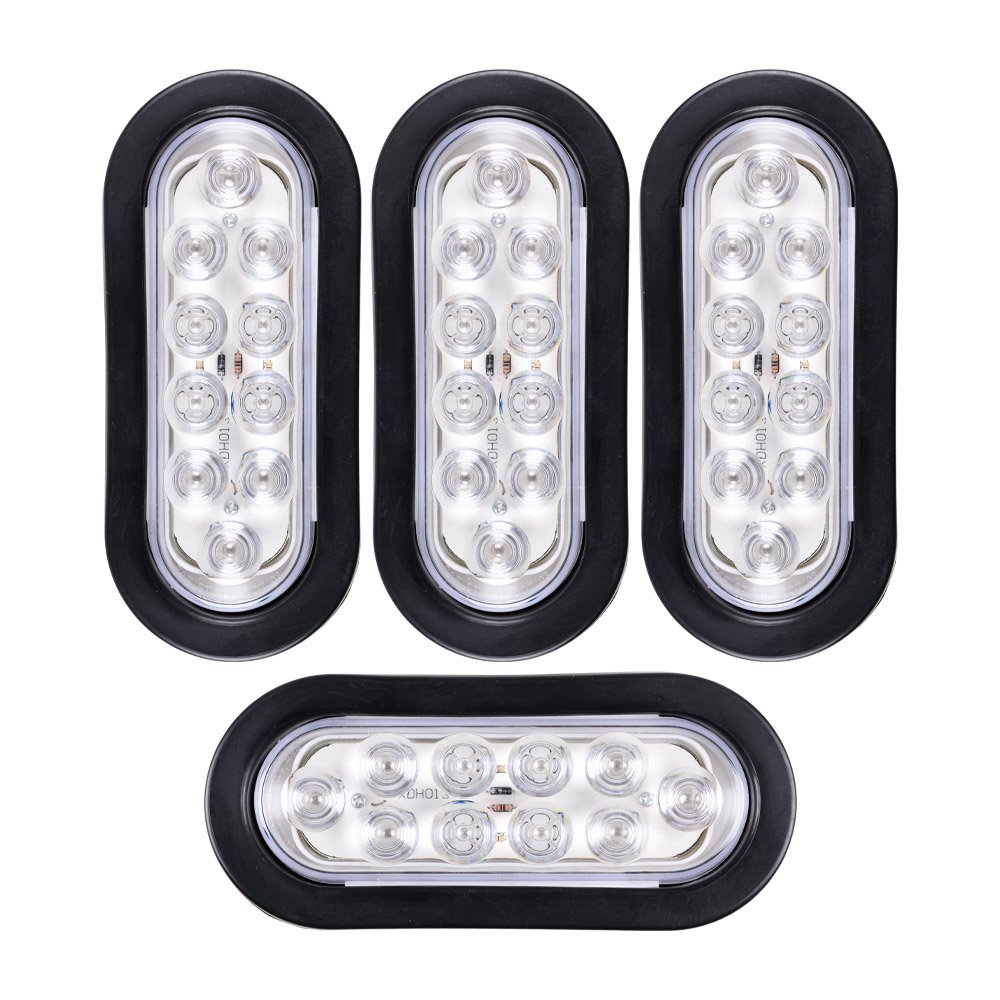 4x Red 6 Oval Led Clear Lens Brake Stop Tail Light Also Trailer Lights Along With Wiring Grommet Plug Rv Truck Automotive