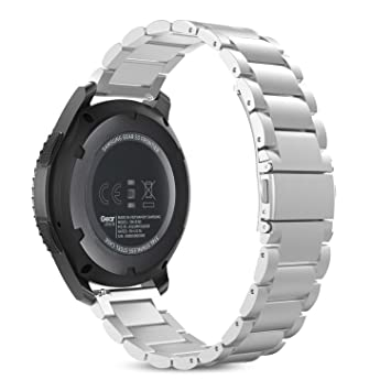 MoKo Gear S3 SmartWatch Correa de Acero Inoxidable Metal Reemplazo Link Bracelete con Hebilla Plegable de Doble Botón para Samsung Gear S3 Frontier / ...