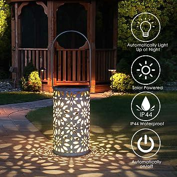 Jardín al aire libre lámpara, Tencoz llevó la linterna solar, luces marroquíes silueta solar luces colgantes LED Luz solar del jardínimpermeable patio iluminado [clase de energía A +]: Amazon.es: Iluminación