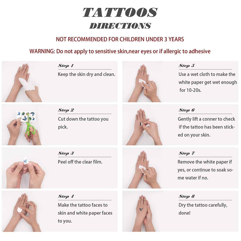Zhuhuimin 30 Unidades/Set Pegatinas de Tatuaje de Arte Corporal ...