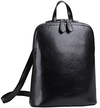 52a49b2669 Heshe Women s Leather Backpack Casual Daypack for Ladies (Black-r)