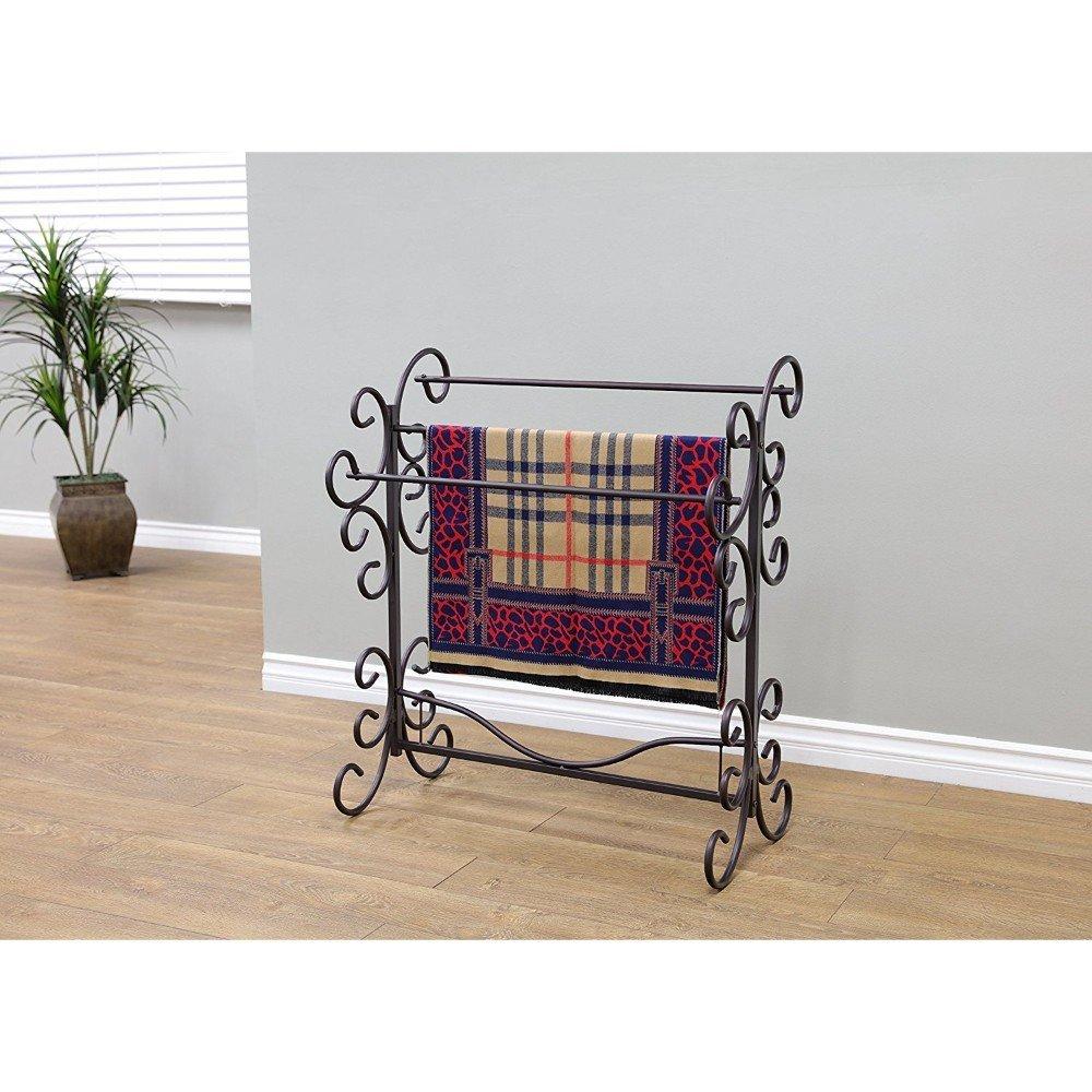 """Frenchi Home FurnishingBlanket Rack, 35.5"""" H, Eerie Black"""