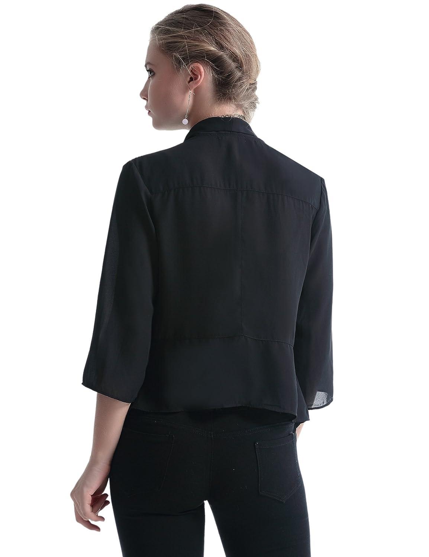 Gilet Court Femme Blazer Boléro Cardigan Basic en Mousseline Veste de Soiree Chic Gilet Noir Blanc Femme Manches 3//4 Châle Elégant