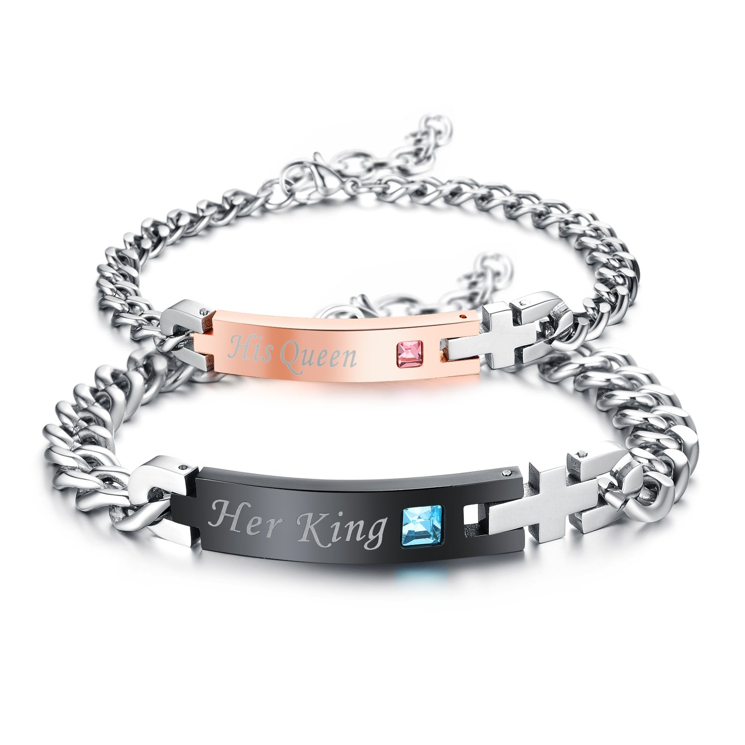 2pcs His Queen Her King Stainless Steel His and Hers Couple Bracelet Valentine's Gift for Lovers