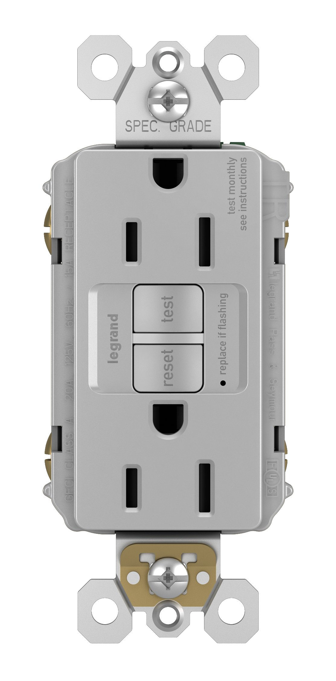 Legrand-Pass & Seymour 1597GRYCCD12 Self-Test GFCI Receptacle Outlet with Wall Plate, 15Amp 125V, Gray