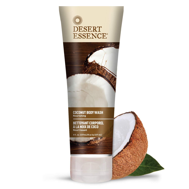 Desert Essence Coconut Body Wash - 8 Fl Ounce - Pack of 2 - Nourishing Coconut Oil - Jojoba Oil - Skin Cleanser - Hydrating Body Wash - Vegan - No Gluten & Parabens - Cruelty-Free