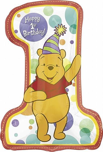 Amazon.com: Winnie the Pooh 1st globo de cumpleaños – Winnie ...