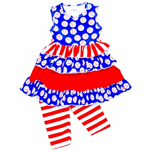 d8a074fa688d Unique Baby Girls Layered Ruffle Baseball Boutique Outfit (4T/M) Blue