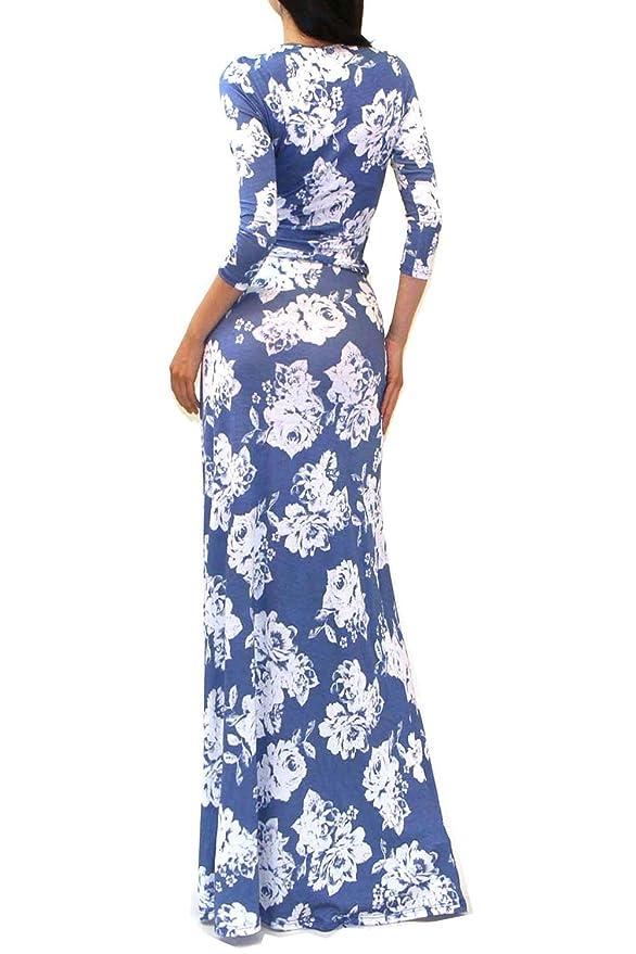 1911a63cde Amazon.com  VIVICASTLE Women s Printed V-neck 3 4 Sleeve Wrap Waist Tie Long  Maxi Dress (Large