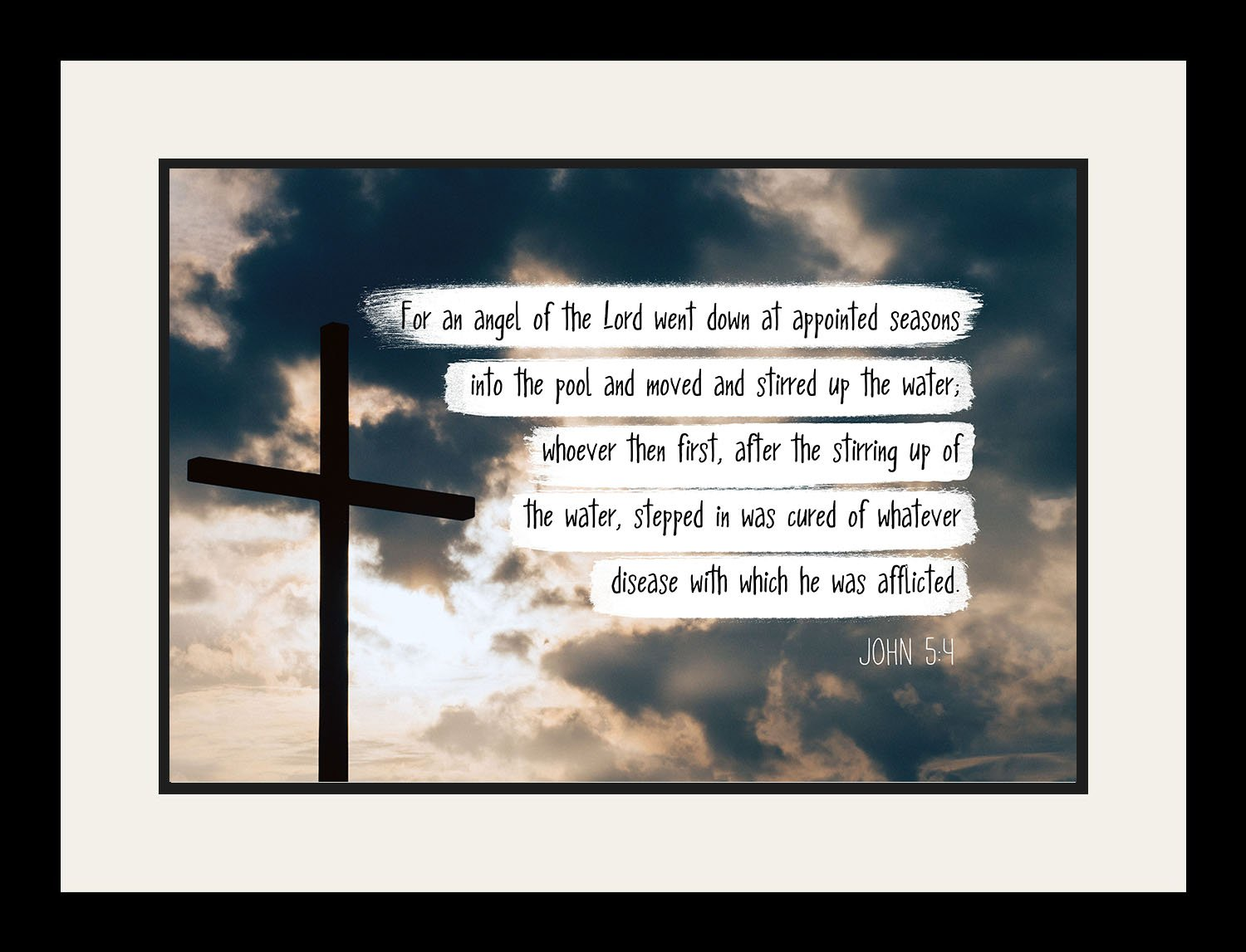John 5:4 For an angel of the Lord - Christian Poster, Print, Picture or Framed Wall Art Decor - Bible Verse Collection - Religious Gift for Holidays Christmas Baptism (19x25 Framed)