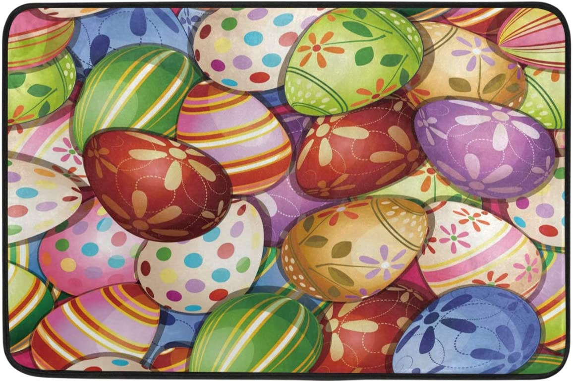 Amazon Com Colorful Easter Eggs Door Mats Floral Flowers Spring Floor Mat Indoor Outdoor Entrance Bathroom Doormat Non Slip Washable Egg Hunt Welcome Mats Home Easter Day Decor 23 6 X 15 7 Inch Kitchen