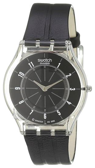 Reloj De Skin Negro Unisex Swatch CuarzoCorrea Piel Color wOP80kn