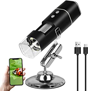 SUNJOYCO Wireless Digital Microscope, 50X-1000X Magnification Mini Pocket Handheld WiFi USB Endoscope Magnifier HD Inspection Camera with 8 LED and Stand Compatible with iPhone iPad Android Laptop