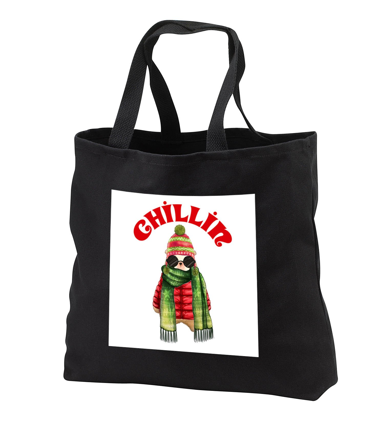 Doreen Erhardt Christmas Collection - Chillin Funny Winter Polar Bear in Winter Coat and Sunglasses - Tote Bags - Black Tote Bag 14w x 14h x 3d (tb_286330_1)