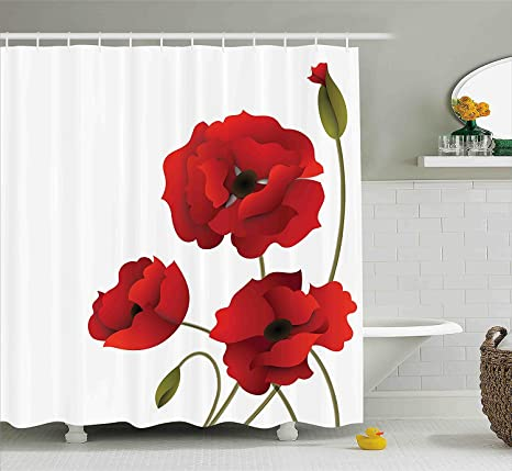 Floral Shower Curtain Poppy Flowers Bright Petals With Buds Pastoral Purity Mother Earth Nature Design