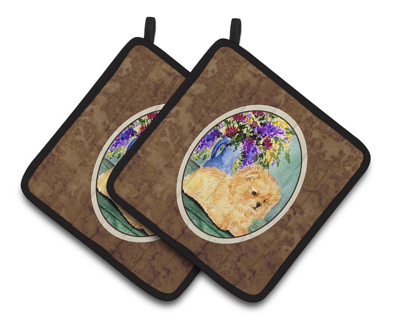 Carolines Treasures SS8302PTHD Pomeranian Pair of Pot Holders Multicolor 7.5HX7.5W
