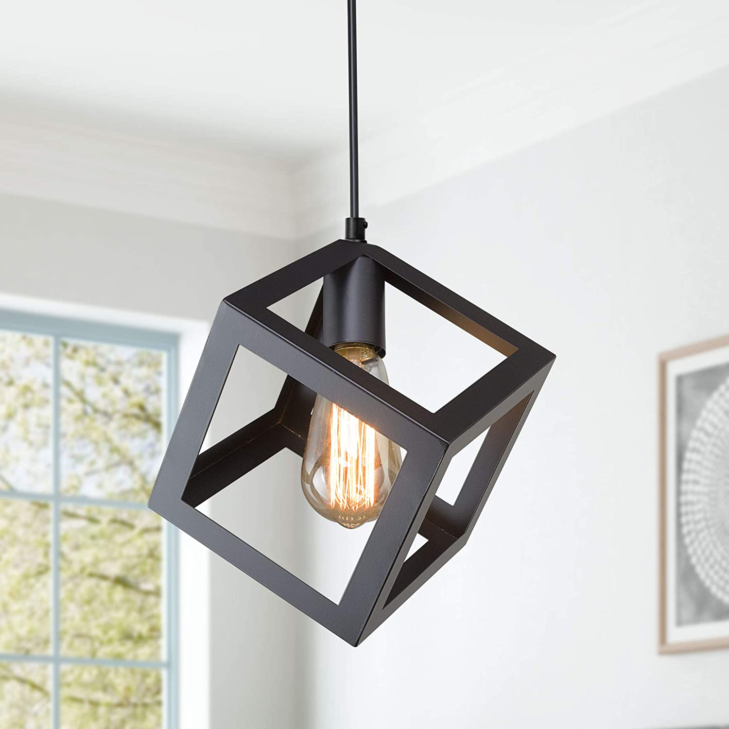 Lnc pendant lighting for kitchen island modern square hanging fixture with black oil finish a01974