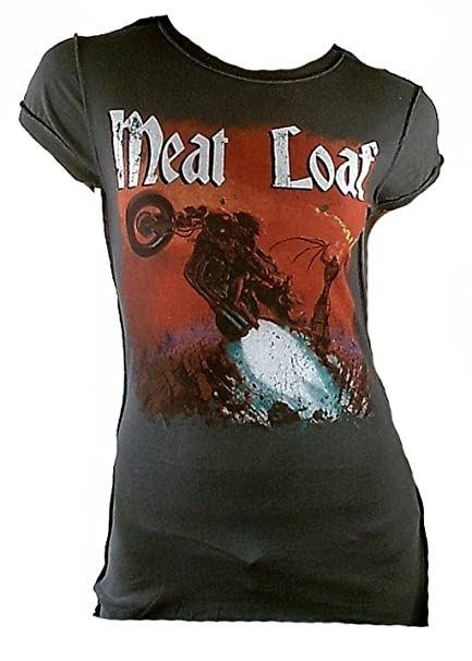 Amplified Camiseta de mujer gris Official Meat Loaf Bat Out Of Hell Rock Star gris 36