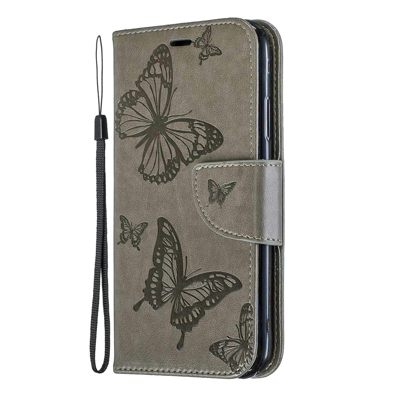 Coque iPhone XR, SONWO Cuir PU en Relief Papillon Flip Portefeuille Etui avec La Fonction Stand pour Apple iPhone XR, Vert Foncé
