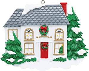 Personalized Victorian House Christmas Tree Ornament 2020 - Snowy White Wooden Family Home Red Door First Winter Housewarming Elegant Holiday Mates Host Year - Free Customization