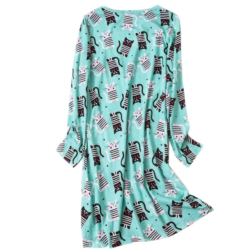 Women\'s Cotton Sleepwear Long Sleeves Nightgown Print Tee Sleep Dress (X-large, Green)