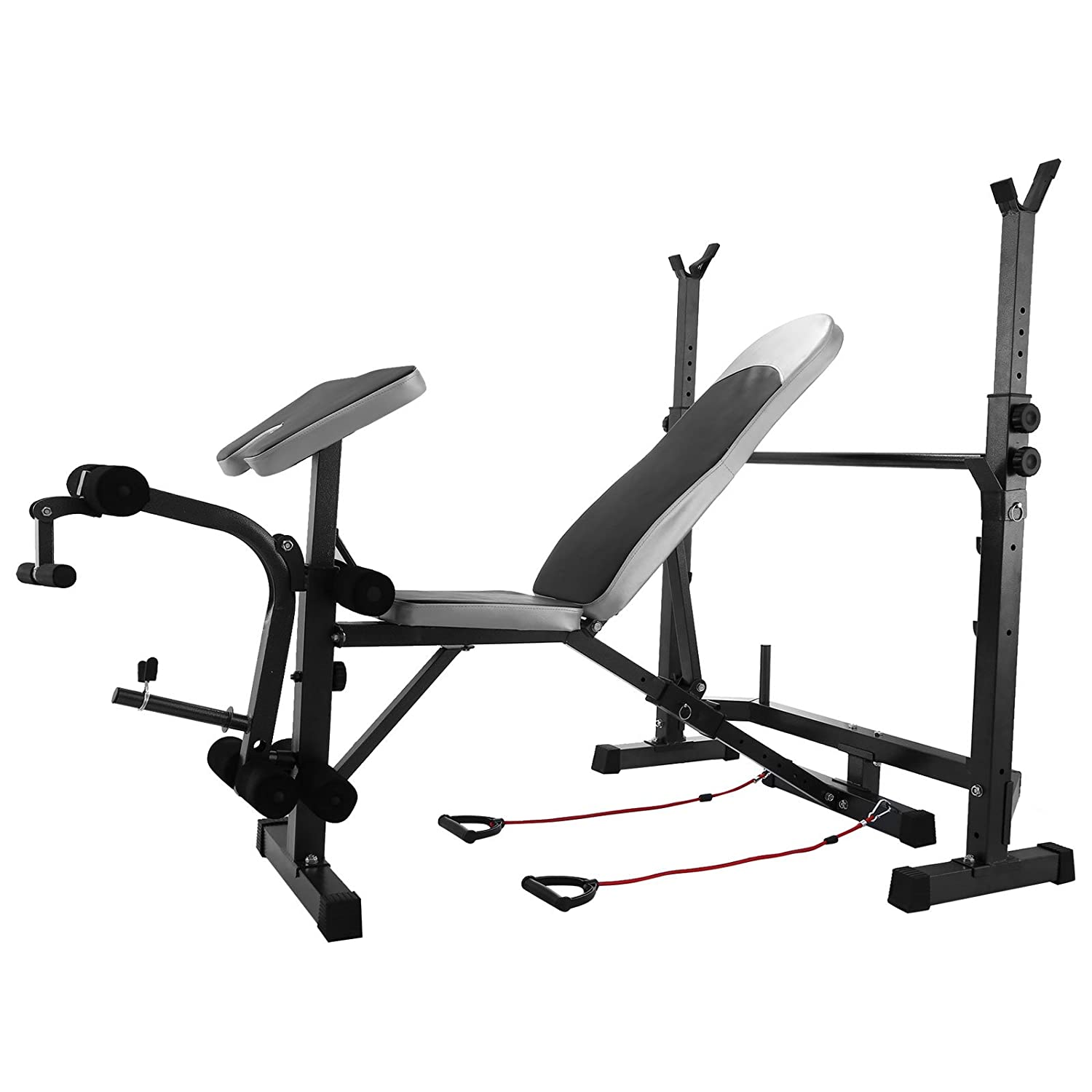 Happybuy Weight Bench 660LBS Weight Lifting Bench Weight Bench Adjustable Exercise Bench for Indoor Use Weight Bench Set with Leg Developer Workout Bench Split Type