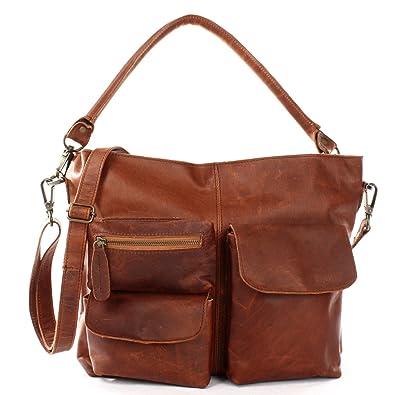 d66be88d291dd6 LECONI Schultertasche Ledertasche für Damen Vintage-Look echtes Leder Natur  großer Shopper Lederhandtasche für DIN