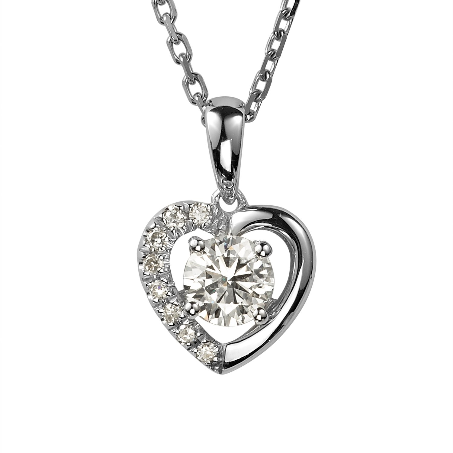 Forever Brilliant Round 5.0mm Moissanite Heart Pendant Necklace, 0.58cttw DEW By Charles & Colvard