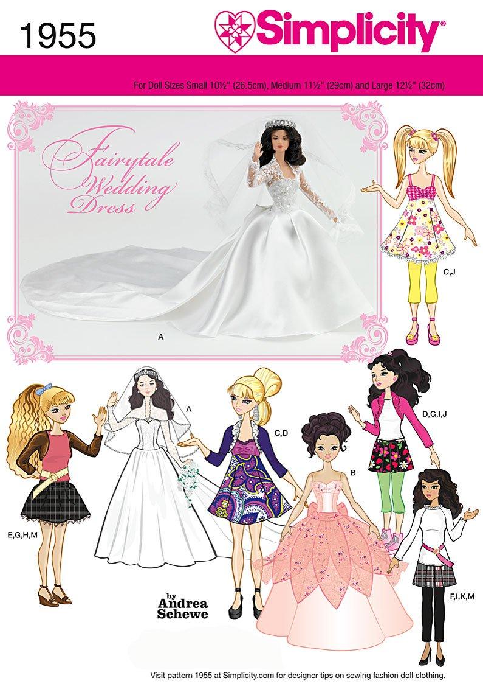 Simplicity 1955 - Patrones de costura para ropa de muñeca /(tallas S ...