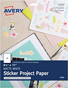 Avery Printable Sticker Paper, Matte White, 8.5 x 11 Inches, Inkjet Printers, 5 Sheets (53202)