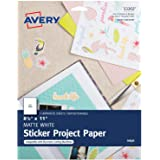 "Avery Sticker Project Paper, Matte White, Removable Adhesive, 8-1/2"" x 11"", Pack of 5 (53202)"