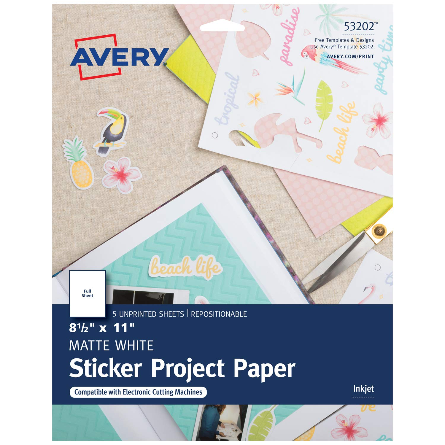 Amazon com avery sticker project paper matte white removable adhesive 8 1 2 x 11 pack of 5 53202 photo quality paper office products