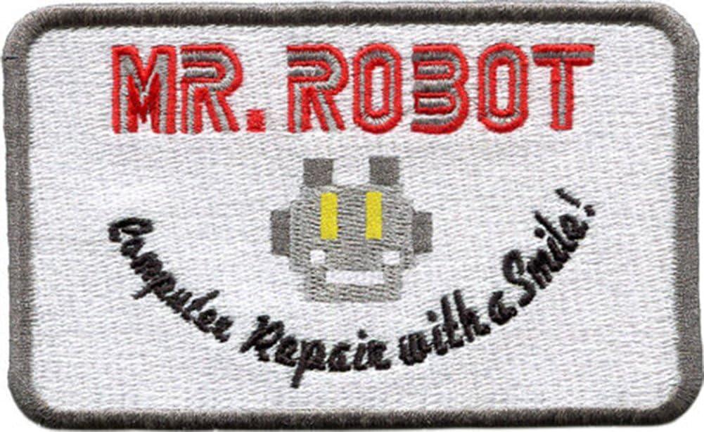 Parche Bordado para reparaci/ón de Robot con una Sonrisa Wardah Limited Mr Coser o Planchar 10 cm x 6 cm