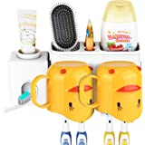 E-ROOM TREND Toothbrush Holder Wall Mounted Removable with Spare Adhesive Pads, Automatic Toothpaste Dispenser with Cute…