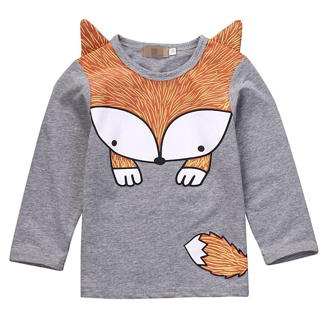 Flower Tiger Baby Boys Girls Long Sleeve Lovely Cartoon Fox T-Shirt