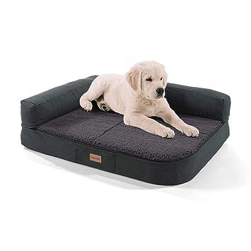 Cama para perro Brunolie Pallina, lavable, ergonómica y antideslizante, con cojín de peluche