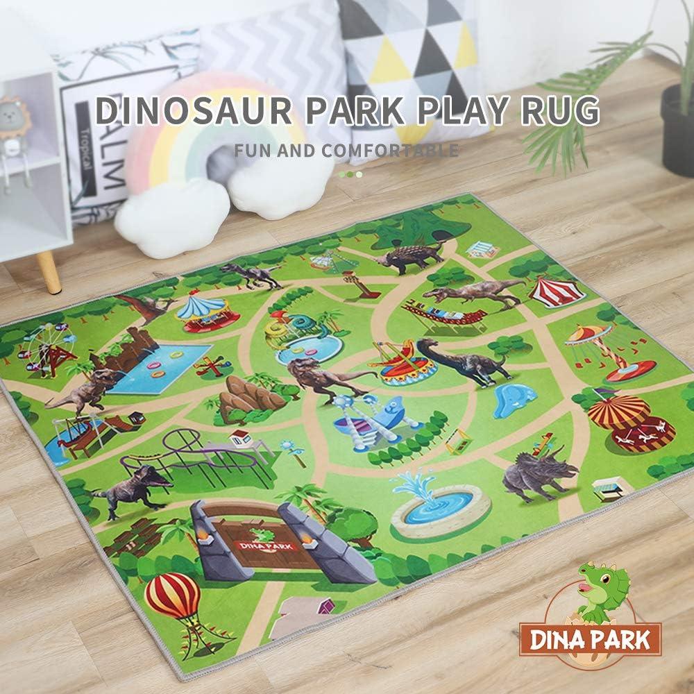"Kids Rug, Dina Park 47"" x 39"" Dinosaur World Kids Play Mat Game Rug Children Room Decor Carpet"