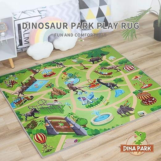 Amazon Com Kids Rug Dina Park 47 X 39 Dinosaur World Kids Play