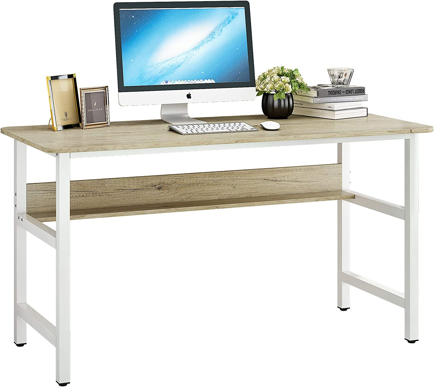 JEROAL 55 Inch Computer Desk with Bookshelf, Wood PC Laptop Workstation, Study Writing Table with Metal Framefor Home, Office and Study Room,Colorado Color