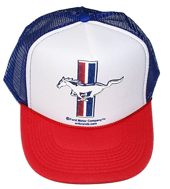 b1dfc7be30e Amazon.com  Ford Mustang - USA Red White Blue Trucker Hat Cap ...