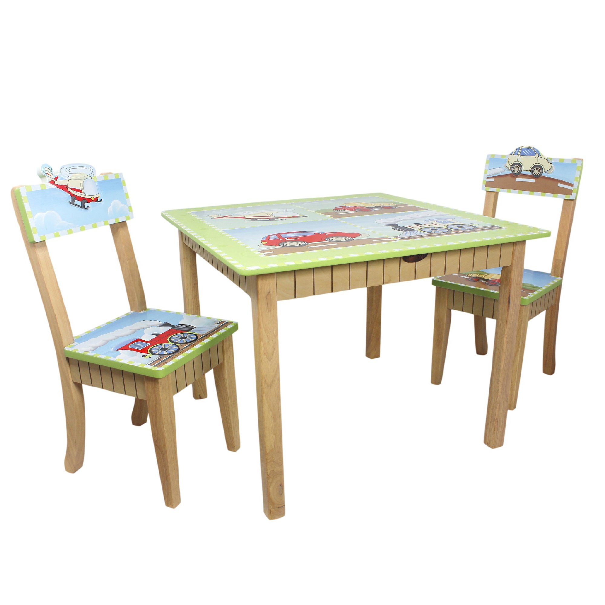 Fantasy Fields - Transportation Thematic Hand Crafted Kids Wooden Table and 2 Chairs Set |Imagination Inspiring Hand Crafted & Hand Painted Details   Non-Toxic, Lead Free Water-based Paint