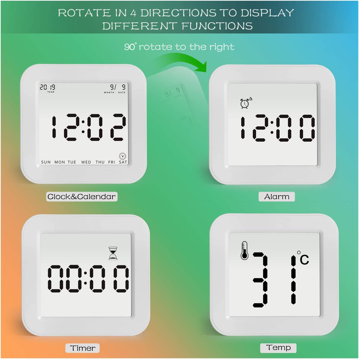 Simple Rotation to Change Each Function,4 Sided Clock with Time,Alarm,Timer,Temperature Function for Kids,Heavy Sleepers,Bedroom and Travel White Ledgo Battery Operated Digital Alarm Clock