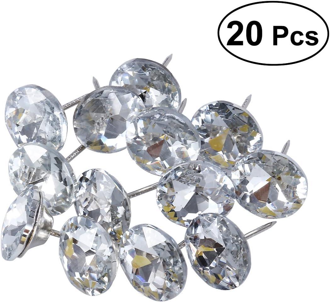 ULTNICE 20pcs 25 mm uñas de tapicería de cristal de diamantes tachuelas cabeza del sofá coser botones