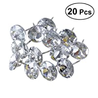 ULTNICE 20Pcs 25mm Diamant Crystal Rembourrage Ongles Tacks Canapé Tête de Lit Coudre Boutons