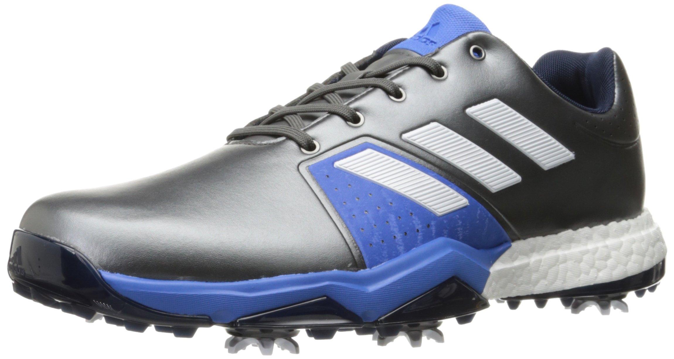 adidas Men's Adipower Boost 3 Golf Shoe, Dark Silver Metallic/White/Blast Blue, 8 M US
