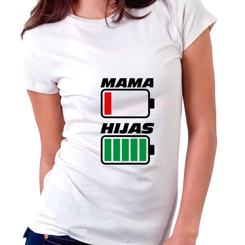 Custom Vinyl Camiseta Dia de la Madre Mama e Hijas Negra, L - Entallada