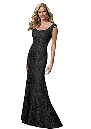 e4c1b40a9e5 Angel Formal Dresses Women s Scoop Beaded Applique Mermaid Lace Mother Of  The Bride Evening Dress(