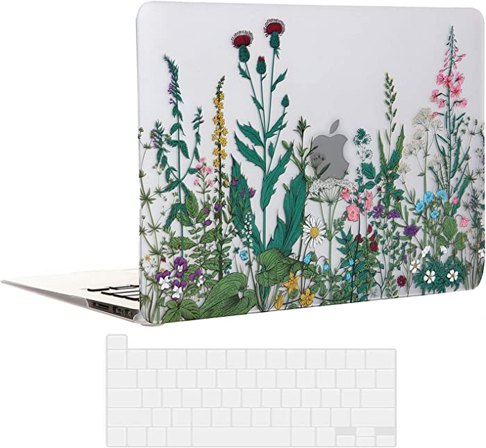 EkuaBot Flowers MacBook Air 13 inch Case & Transparent Keyboard Cover (A2179/A1932, 2018-2020 Release), Matt Rubber Coated Hard Case Only Compatible New MacBook Air 13.3 with Retina Display & Touch ID