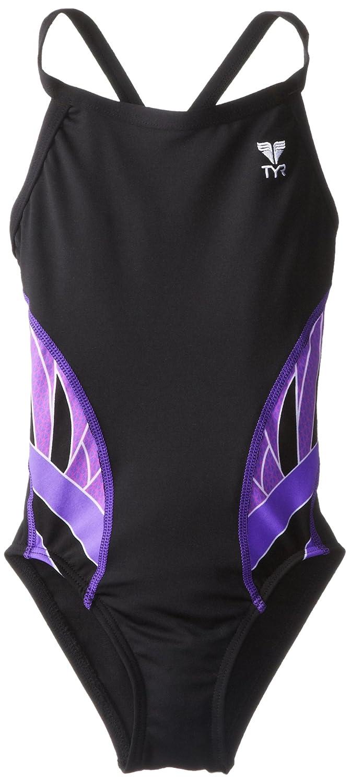 TYR SPORT Girl 's PhoenixスプライスDiamondfit Swimsuit B00DE2QC08 24|ブラック/パープル ブラック/パープル 24